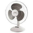 12-Inch Three-Speed Oscillating Desk Fan, Metal/Plastic, White LAKLDF1210BWM