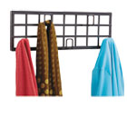 Grid Coat Rack, Five Hooks, 21-1/2w x 2-1/4d x 6-3/4h, Black SAF4663BL