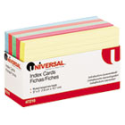 Index Cards, 3 x 5, Blue/Salmon/Green/Cherry/Canary, 100/Pack UNV47216