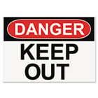 OSHA Safety Signs, DANGER KEEP OUT, White/Red/Black, 10 x 14 USS5491