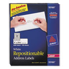Repositionable Address Labels for Laser Printers, 1 x 2 5/8, White, 3000/Pack AVE55160