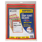 Stitched Shop Ticket Holder, Neon, Assorted 5 Colors, 9 x 12, 10/PK CLI43920
