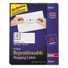 Repositionable Shipping Labels for Laser Printers, 2 x 4, White, 1000/Pack AVE55163
