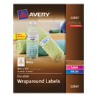 Durable Wraparound Printer Labels, 9-3/4 x 1-1/4, White, 40/Pack AVE22845