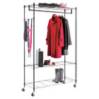 Wire Shelving Garment Rack, Black, Steel, Stand Alone Rack, Five Hooks ALEGR354818BL