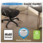 EverLife Chair Mats For Medium Pile Carpet, Rectangular, 46 x 60, Clear ESR122371