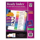 Ready Index Contemporary Table of Contents Divider, 1-12, Multi, Letter, 1 Set AVE11141