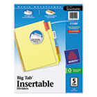 WorkSaver Big Tab Reinforced Dividers, Multicolor Tabs, 5-Tab, Ltr, Buff, 1/Set AVE11109