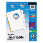 WorkSaver Big Tab Dividers, Clear Tabs, 5-Tab, Letter, White, 1/Set AVE11122