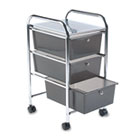 Portable Drawer Organizer, 15-1/2w x 13d x 27h, Smoke/Chrome AVT34006