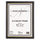 EZ Mount Document Frame w/Trim Accent, Plastic, 8-1/2 x 11, Black/Gold, 18/CT NUD11818
