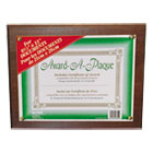Award-A-Plaque Document Holder, Acrylic/Plastic, 10-1/2 x 13, Walnut NUD18811M