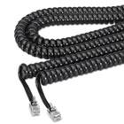 Coiled Phone Cord, Plug/Plug, 12 ft., Black SOF48102