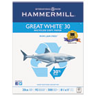 Great White Recycled Copy Paper, 92 Brightness, 20lb, 8-1/2 x 11, 5000 Shts/Ctn HAM86700