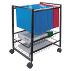 Mobile File Cart w/Sliding Baskets, 15w x 12-7/8d x 20-7/8h, Black AVT34075