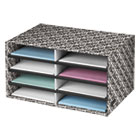 Decorative Eight Compartment Literature Sorter, Letter Size, White/Black Brocade FEL6171301
