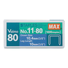 "Heavy-Duty, Flat-Clinch Staples for Max HD-11UFL, 3/8"" Leg Length, 1000/Box MXBNO1180"