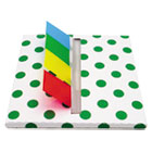 Green Dot Designer Pop-Up Page Flag Dispenser, 4 Pads of 35 Flags Each RTG75011