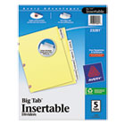 WorkSaver Big Tab Dividers W/ CPR Holes, Clear Tabs, 5-Tab, Letter, Buff, S/Set AVE23281