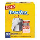 ForceFlex Tall Kitchen Drawstring Bags, 13 gal, .90mil, 24x25 1/8 White 100/Bx COX70427