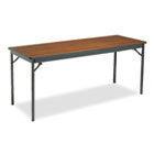 Special Size Folding Table, Rectangular, 72w x 24d x 30h, Walnut/Black BRKCL2472WA