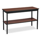 Utility Table with Bottom Shelf, Rectangular, 48w x 18d x 30h, Walnut/Black BRKUTS1848WA