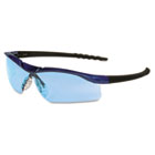 Dallas Wraparound Safety Glasses, Blue Metallic Frame, Light Blue Lens CRWDL313
