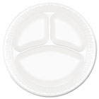 "Concorde Foam Plate, 3-Comp, 9"" dia, White, 125/Pack, 4 Packs/Carton DRC9CPWC"