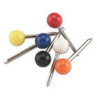 "Map Tacks, Plastic, Assorted, 3/8"", 100/Box GEMMTA"