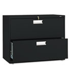 600 Series Two-Drawer Lateral File, 36w x 19-1/4d, Black HON682LP