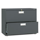 600 Series Two-Drawer Lateral File, 36w x 19-1/4d, Charcoal HON682LS