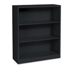 Metal Bookcase, Three-Shelf, 34-1/2w x 12-5/8d x 41h, Black HONS42ABCP