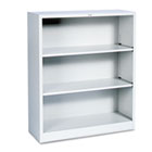 Metal Bookcase, Three-Shelf, 34-1/2w x 12-5/8d x 41h, Light Gray HONS42ABCQ