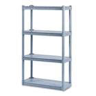 Rough N Ready Four-Shelf Open Storage System, Resin, 32w x 13d x 54h, Charcoal ICE20842
