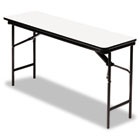 Premium Wood Laminate Folding Table, Rectangular, 72w x 18d x 29h, Gray/Charcoal ICE55287