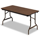 Economy Wood Laminate Folding Table, Rectangular, 60w x 30d x 29h, Walnut ICE55314