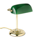 "Traditional Incandescent Banker's Lamp, Green Glass Shade, 14""h, Brass Base LEDL557BR"