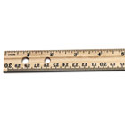 "Economical Beveled Wood Ruler w/Single Metal Edge, 12"", Natural, 36/Box LEO77120"