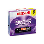 DVD+R Discs, 4.7GB, 16x, w/Jewel Cases, Silver, 5/Pack MAX639002