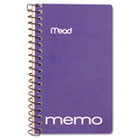 """Memo Book, College Ruled, 5"""" x 3"""", Wirebound, 60 Sheets, Assorted MEA45534"""