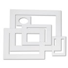 Pre-Cut Mat Frames for Photo/Art, 12 Mats/ 5 Asst Sizes, 60/Pack, White PAC72500
