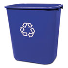Medium Deskside Recycling Container, Rectangular, Plastic, 28.125qt, Blue RCP295673BE