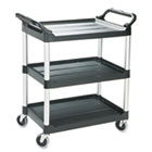 Economy Plastic Cart, Three-Shelf, 18-5/8w x 33-5/8d x 37-3/4h, Black RCP342488BLA