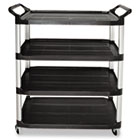 Open Sided Utility Cart, Four-Shelf, 40-5/8w x 20d x 51h, Black RCP409600BLA