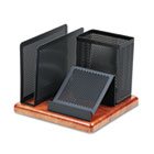 Distinctions Desk Organizer, Metal/Wood, 5 7/8 x 5 7/8 x 4 1/2, Black/Cherry ROL1813918