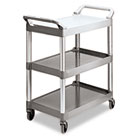 Economy Plastic Cart, Three-Shelf, 18-5/8w x 33-5/8d x 37-3/4h, Platinum RCP342488PM