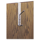 Over-The-Door Double Coat Hook, Chrome-Plated Steel, Satin Aluminum Base SAF4166
