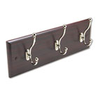 Wood Wall Rack, Three Double-Hooks, 18w x 3-1/4d x 6-3/4h, Mahogany SAF4216MH