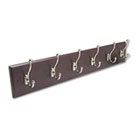 Wood Wall Rack, Six Double-Hook, 35-1/2w x 3-1/4d x 6-3/4h, Mahogany SAF4217MH