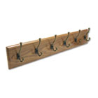 Wood Wall Rack, Six Double-Hooks, 35-1/2w x 3-1/4d x 6-3/4h, Medium Oak SAF4217MO